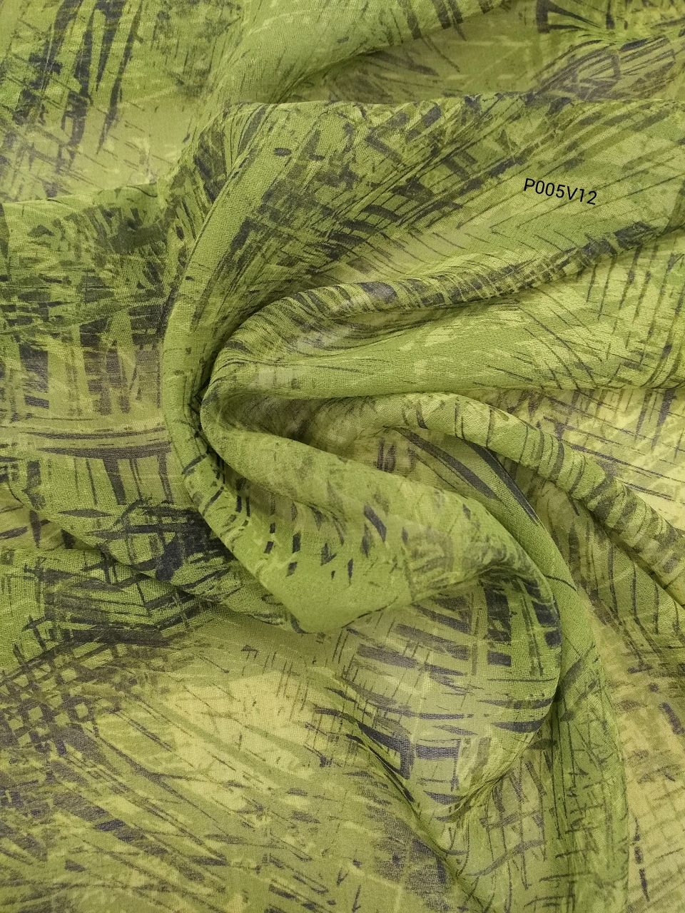Chiffon with green print . A piece of 64h82, Fabric, Moscow,  Фото №1