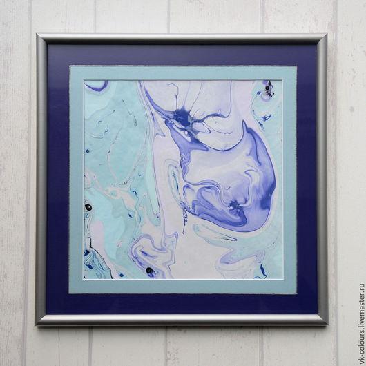 Абстракция ручной работы. Ярмарка Мастеров - ручная работа. Купить живопись на воде 5. Handmade. Голубой, фиолетовый, картина