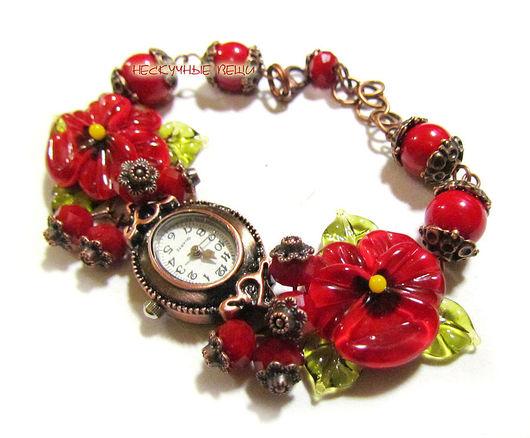 """Часы ручной работы. Ярмарка Мастеров - ручная работа. Купить Часы """"Специи"""". Handmade. Ярко-красный, часы-браслет"""