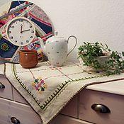 Предметы интерьера винтажные ручной работы. Ярмарка Мастеров - ручная работа Винтажная льняная скатёрка с вышивкой. Handmade.