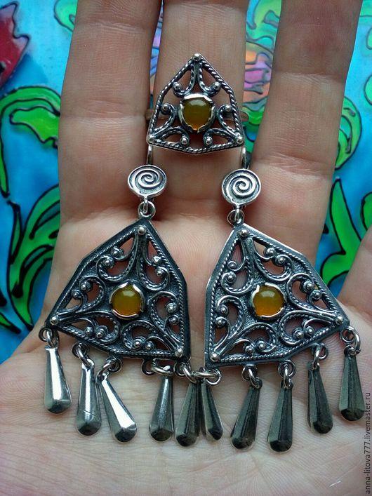 Комплекты украшений ручной работы. Ярмарка Мастеров - ручная работа. Купить 31  Комплект серьги и кольцо серебрение с камнем. Handmade.