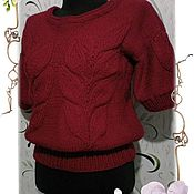 Одежда handmade. Livemaster - original item Knitted pullover with large leaves. Handmade.