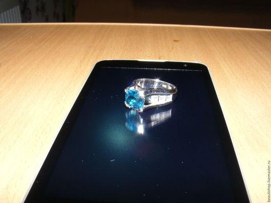 Кольца ручной работы. Ярмарка Мастеров - ручная работа. Купить кольцо с цирконом. Handmade. Голубой камень, циркон природный