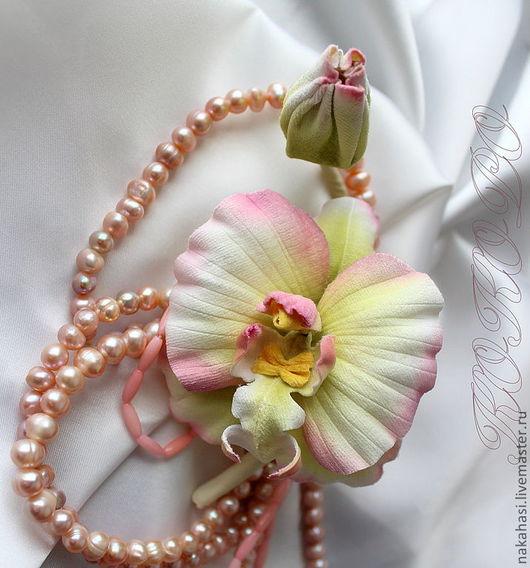 Броши ручной работы. Ярмарка Мастеров - ручная работа. Купить Бутоньерка «Дикая орхидея». Handmade. Белый, цветы, бархат
