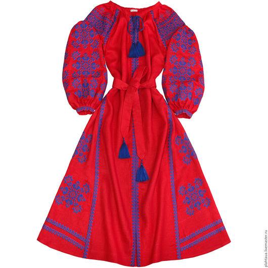 """Платья ручной работы. Ярмарка Мастеров - ручная работа. Купить Длинное платье """"Созвездие Счастья"""". Handmade. Ярко-красный, лён"""