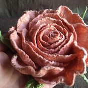 Украшения handmade. Livemaster - original item Brooch made of wool felted Peach rose. Handmade.