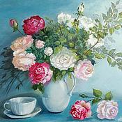 """Картины ручной работы. Ярмарка Мастеров - ручная работа Картина маслом """"Натюрморт с розами"""" цветы 50 х 40 голубой. Handmade."""