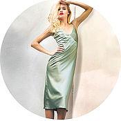 Одежда ручной работы. Ярмарка Мастеров - ручная работа Зеленое платье-комбинация отрезное. Handmade.