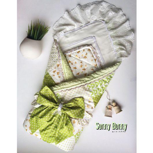 Для новорожденных, ручной работы. Ярмарка Мастеров - ручная работа. Купить Лоскутное одеяло - конверт Лайм с бантом на резинке.. Handmade.