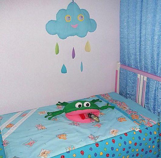 """Детская ручной работы. Ярмарка Мастеров - ручная работа. Купить Комплект """"Баю-бай"""" в кроватку (одеяло, подушки,  детская, голубой). Handmade."""