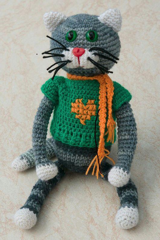 Игрушки животные, ручной работы. Ярмарка Мастеров - ручная работа. Купить Кот в свитере. Handmade. Кот крючком, вязанный кот