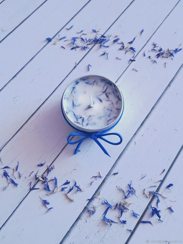 Ароматическая свеча ручной работы с сухоцветом василька белый синий, Свечи, Иркутск,  Фото №1