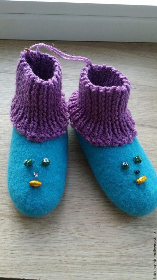 Обувь ручной работы. Ярмарка Мастеров - ручная работа. Купить детские тапочки. Handmade. Бирюзовый, хендмейд