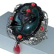 """Украшения handmade. Livemaster - original item Vintage bangle bracelet """"Mesion"""" green agate, silver, heart. Handmade."""