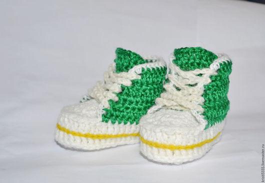Для новорожденных, ручной работы. Ярмарка Мастеров - ручная работа. Купить Пинетки-кеды, пинетки-кроссовки вязаные для новорожденного. Handmade.