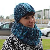 Аксессуары handmade. Livemaster - original item Set Snood and beanie chunky knit Turquoise. Handmade.