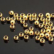 Материалы для творчества handmade. Livemaster - original item 10 PCs. Beads 2,5 mm gold plated 16K th. Korea (art. 2052). Handmade.