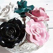 Материалы для творчества ручной работы. Ярмарка Мастеров - ручная работа Ручка для мебели керамическая - роза. Handmade.