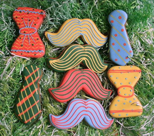 Кулинарные сувениры ручной работы. Ярмарка Мастеров - ручная работа. Купить Пряники усы и галстуки. Handmade. Комбинированный, пряник расписной