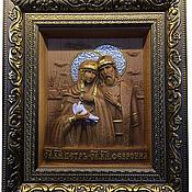 """Иконы ручной работы. Ярмарка Мастеров - ручная работа """"Святые Петр и Феврония"""" икона резная. Handmade."""