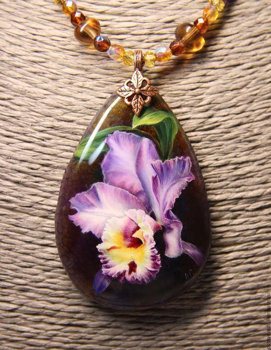 Кулоны, подвески ручной работы. Ярмарка Мастеров - ручная работа. Купить Кулон с загадочной орхидеей.... Handmade. Тёмно-фиолетовый, бейл