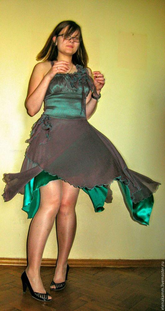 Платья ручной работы. Ярмарка Мастеров - ручная работа. Купить Платье шелковое 'Мятный каппучино '. Handmade. Платье, многослойность