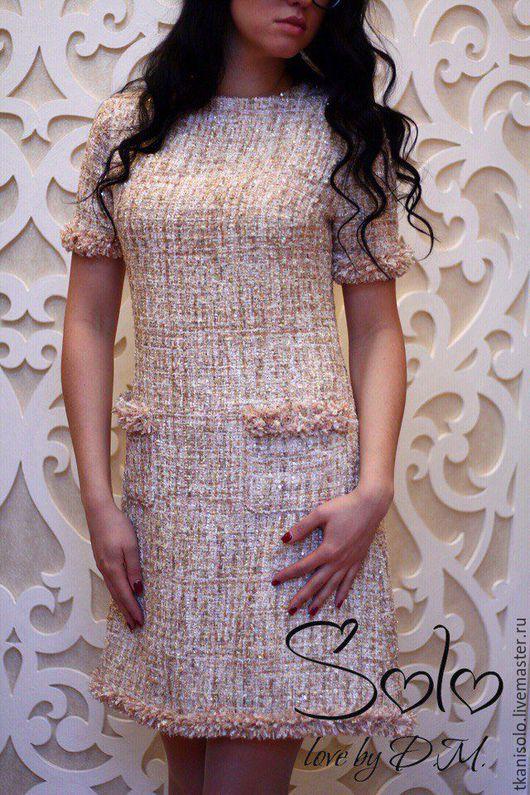 Платья ручной работы. Ярмарка Мастеров - ручная работа. Купить Платье из итальянского твида. Handmade. Бежевый, скромное платье, твид
