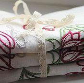 Для дома и интерьера ручной работы. Ярмарка Мастеров - ручная работа Льняная салфетка с вышитой монограммой. Handmade.