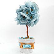 """Цветы и флористика ручной работы. Ярмарка Мастеров - ручная работа Цветочное дерево-топиарий """"Голубая мечта"""". Handmade."""