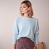 Одежда handmade. Livemaster - original item Knitted jumper mint crow`s foot, blue viscose wool jumper. Handmade.