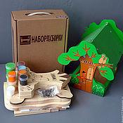 """Куклы и игрушки ручной работы. Ярмарка Мастеров - ручная работа Кормушка для птиц """"Лесное кафе"""" набор-конструктор с красками. Handmade."""