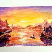 """Картины ручной работы. Ярмарка Мастеров - ручная работа Мини-картина акрилом """"Закат на реке"""". Handmade."""