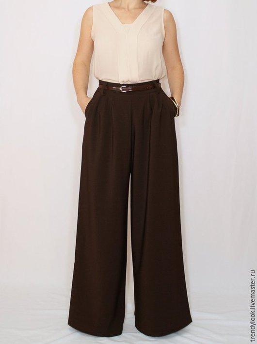 Брюки, шорты ручной работы. Ярмарка Мастеров - ручная работа. Купить Широкие коричневые штаны Шоколадные брюки женские офисный стиль. Handmade.