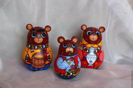 """Развивающие игрушки ручной работы. Ярмарка Мастеров - ручная работа. Купить Коллекционные неваляшки """"Три медведя"""", 12 см и 10 см высота. Handmade."""