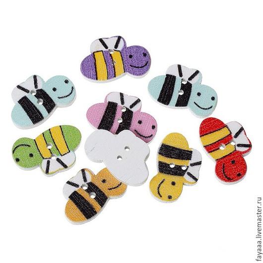 """Шитье ручной работы. Ярмарка Мастеров - ручная работа. Купить Пуговицы деревянные """"Пчелка"""" цвет ассорти. Handmade. Разноцветный, пуговицы"""
