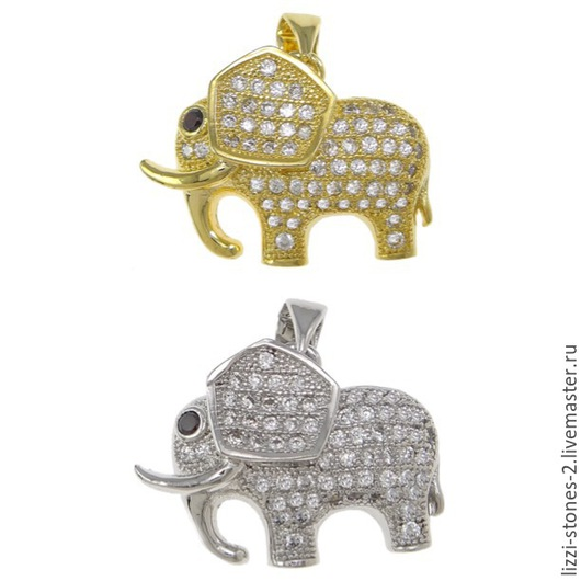 Подвеска слоник золото и серебро (Milano) Евгения (Lizzi-stones-2)