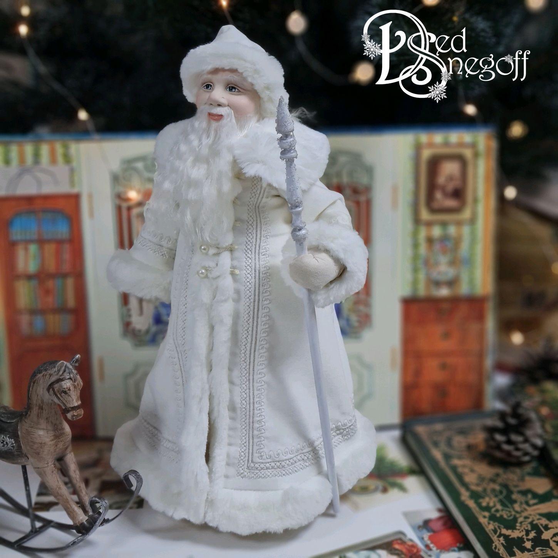 Дед Мороз 40 см Белый с серебром, Интерьерная кукла, Севастополь,  Фото №1