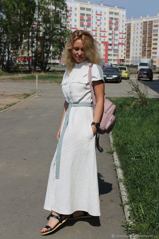 81c78034b05 Оксана Медведская. Платья ручной работы. Заказать Женское длинное платье из  вареной крапивы Фисташковая ваниль.