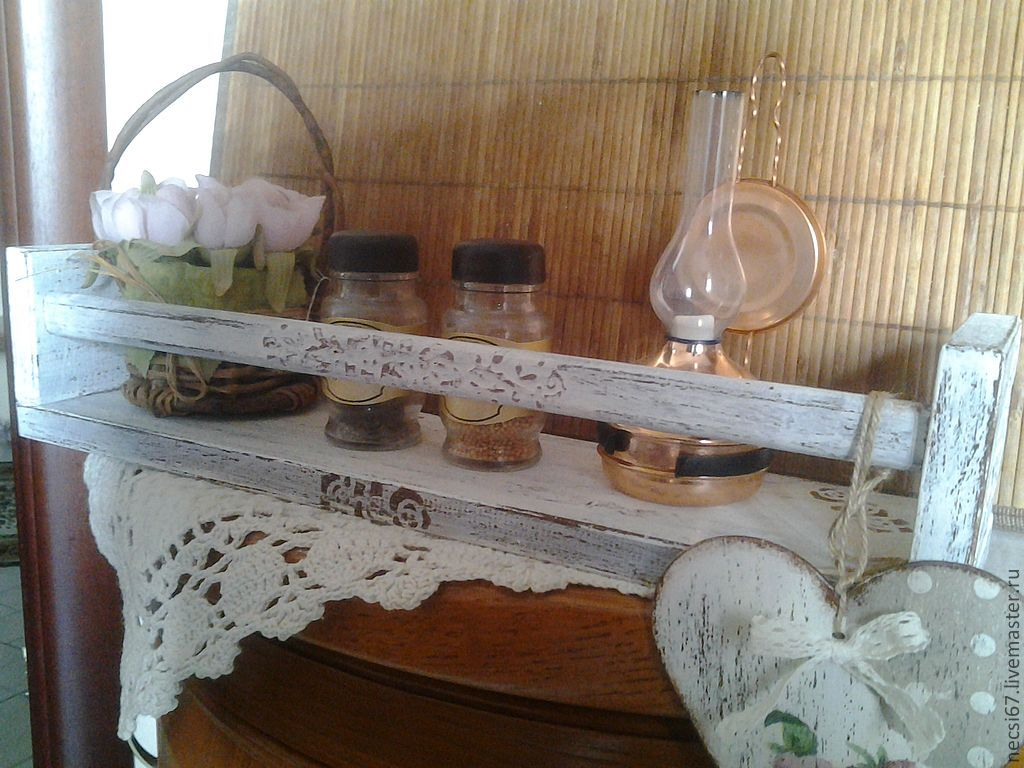 Wood shelf in shabby chic style 'My house', Shelves, Krasnogorsk,  Фото №1