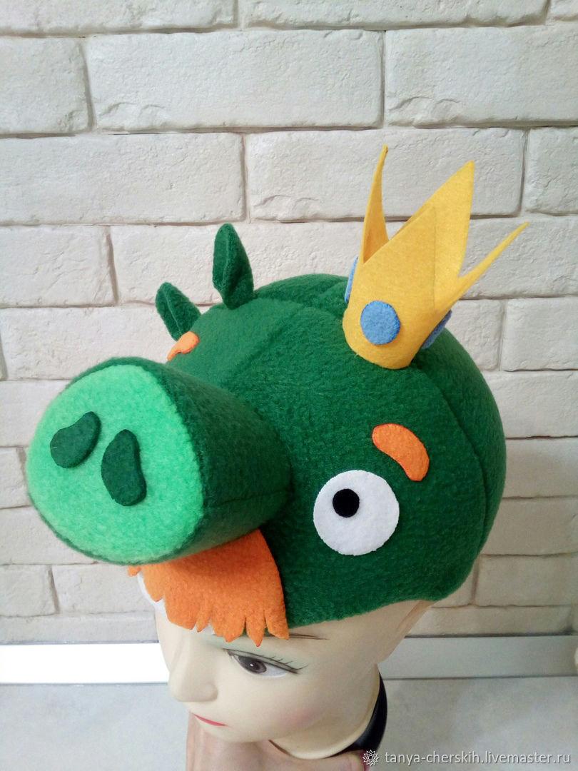 Детские карнавальные костюмы ручной работы. Ярмарка Мастеров - ручная работа. Купить Шапка Король свиней из Энгри Бёрдз детская усатый барон angry birds. Handmade.