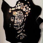Панно ручной работы. Ярмарка Мастеров - ручная работа Картина из кожи NINA SIMONE. Handmade.