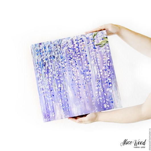 Alice Wood / Картины цветов ручной работы. Ярмарка Мастеров - ручная работа. Купить картину Глициния. Картина с цветами. 3D картина маслом на холсте. Вистерия. Глициния. Абстракция. Handmade