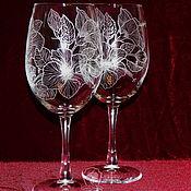 Посуда handmade. Livemaster - original item Hibiscus. wine glasses. Handmade.