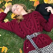 Одежда handmade. Livemaster - original item Jerseys: Women`s sweater with knobs in the color of Bordeaux. Handmade.
