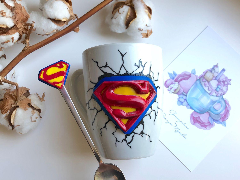 Подарок для мужчины «Ты мой супергерой» символ Марвел из полимерной, Кружки, Санкт-Петербург,  Фото №1