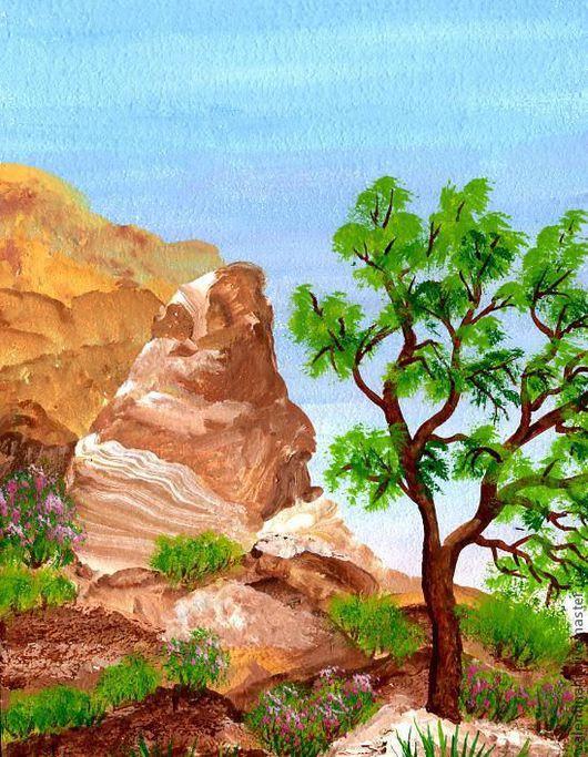 """Пейзаж ручной работы. Ярмарка Мастеров - ручная работа. Купить картина """"Встреча с горами"""" (коричневый, голубой). Handmade. Коричневый, голубой"""