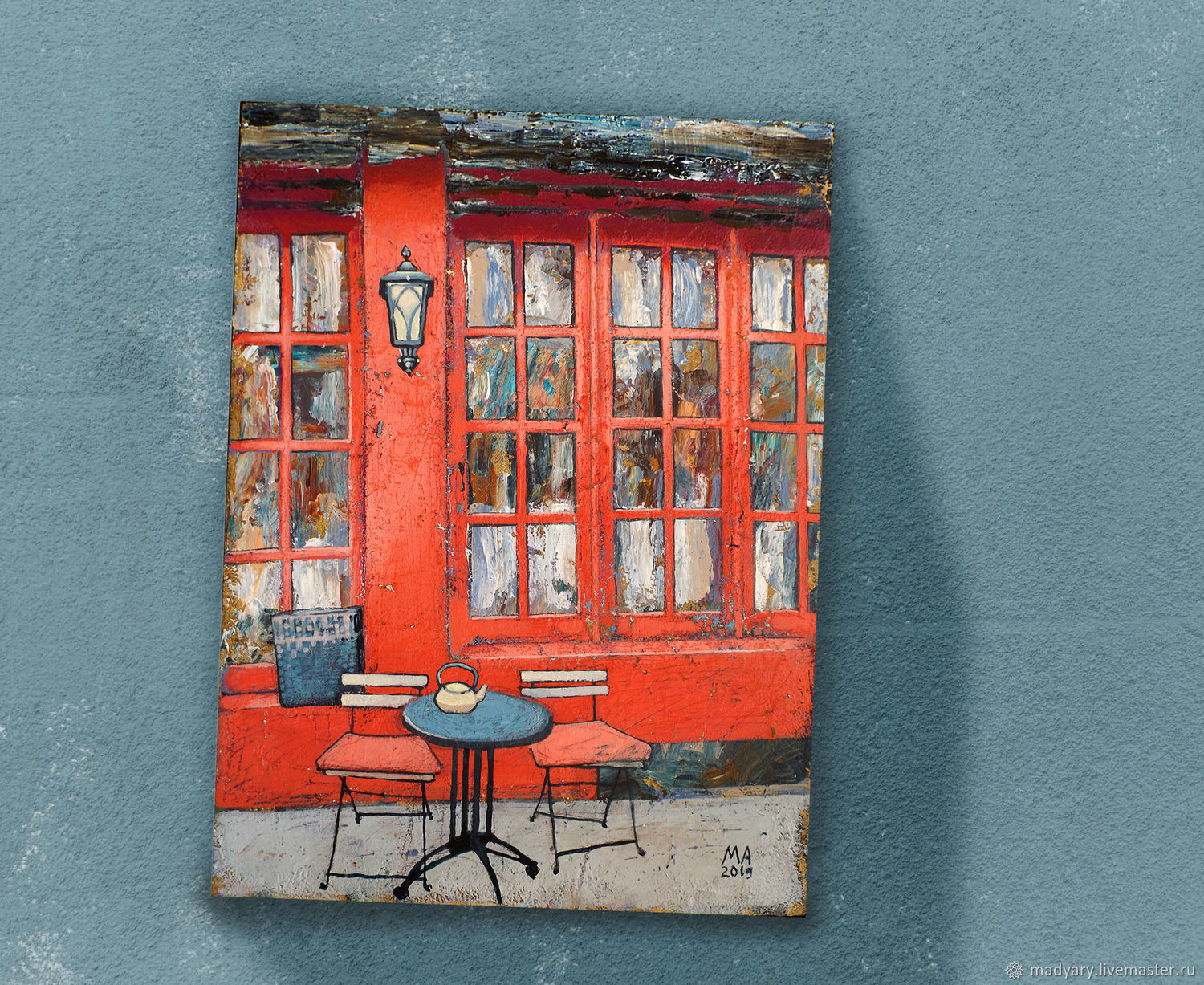 Painting on canvas Red cafe (Europe, city, loft), Pictures, Smolensk,  Фото №1