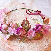 Украшения ручной работы. Ярмарка Мастеров - ручная работа Венок на голову из роз Невеста. Цветы из шелка. Handmade.