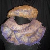 Аксессуары ручной работы. Ярмарка Мастеров - ручная работа Валяный комплект коричнево-фиолетовый. Handmade.
