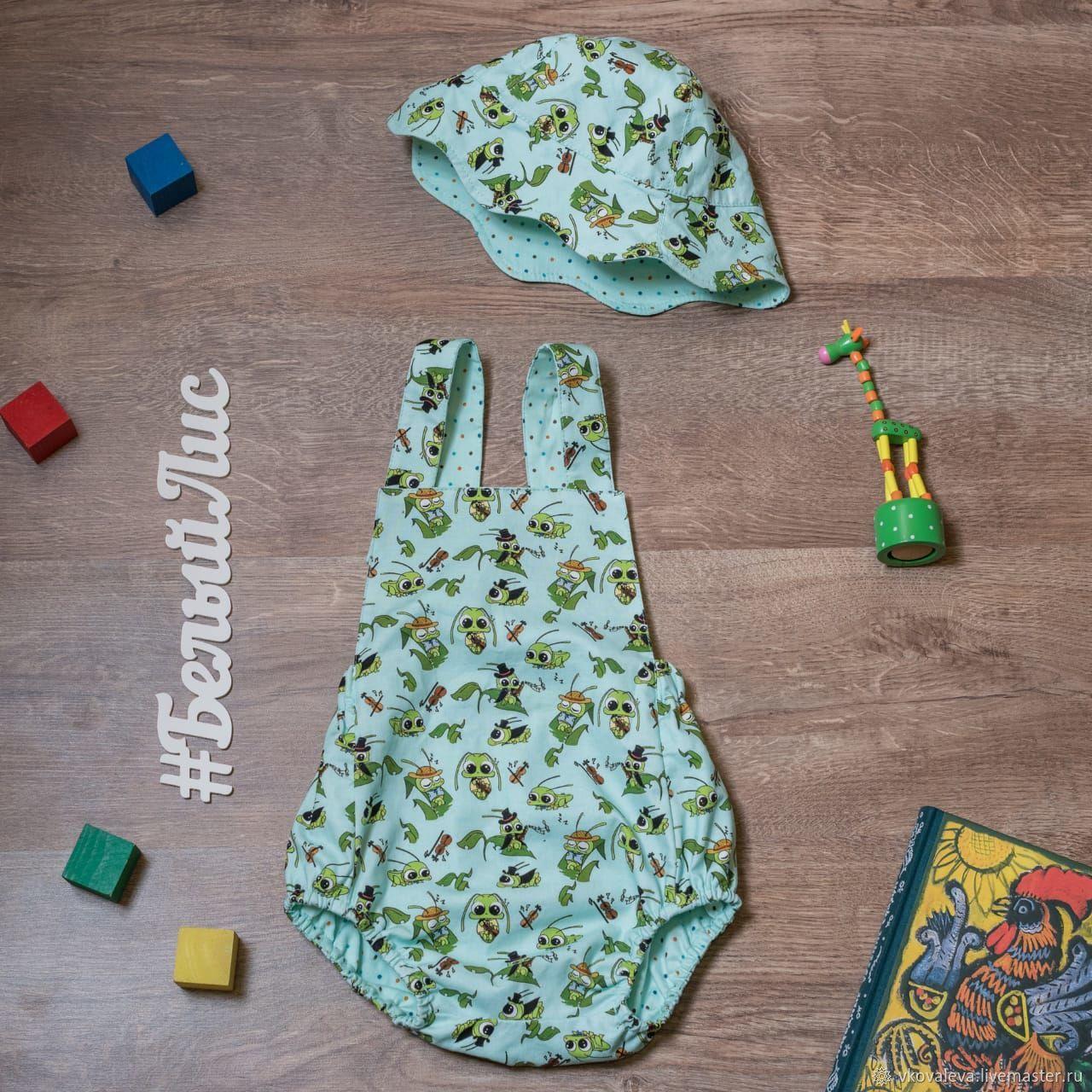 Одежда для мальчиков, ручной работы. Ярмарка Мастеров - ручная работа. Купить Ромпер (песочник). Handmade. Панама, одежда для детей